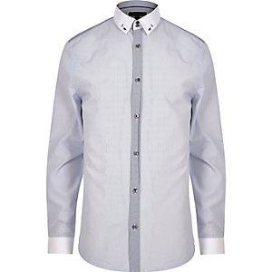 Navy smart slim fit shirt