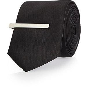 Black clip tie