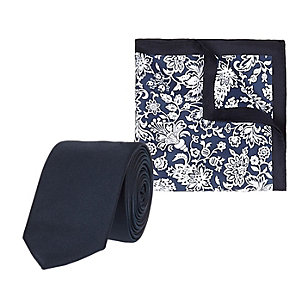 Navy floral print pocket square and tie set