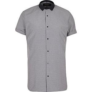 Navy gingham slim fit shirt