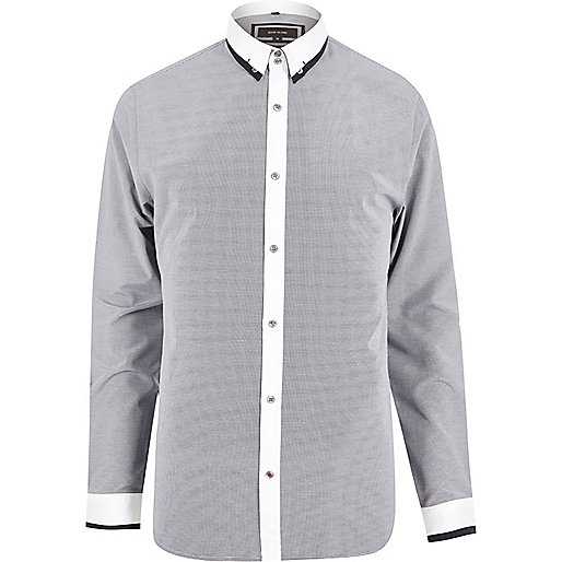 Navy smart contrast slim fit shirt
