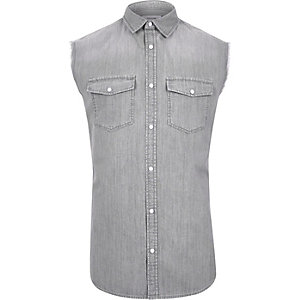 Grey sleeveless denim shirt