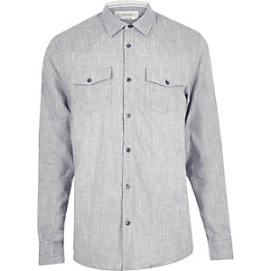 Grey crosshatch Western shirt