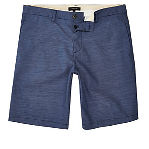 Blue textured slim fit chino shorts