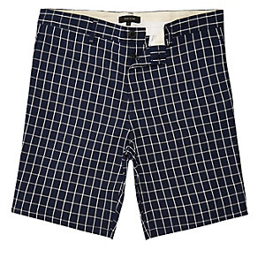 Navy checked slim fit chino shorts