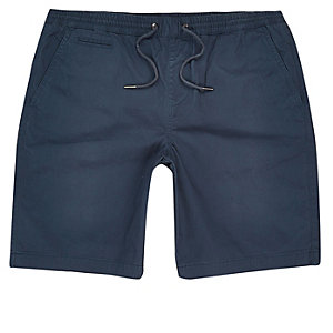 Dark blue slim fit casual shorts