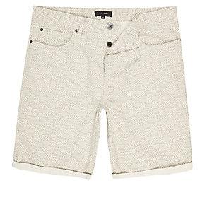 Light grey Aztec slim fit chino shorts