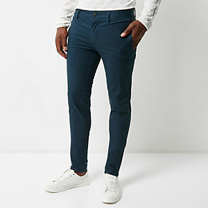 Blue super skinny chino trousers