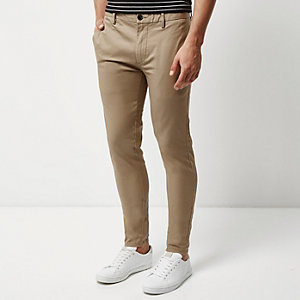 Tan skinny chino trousers