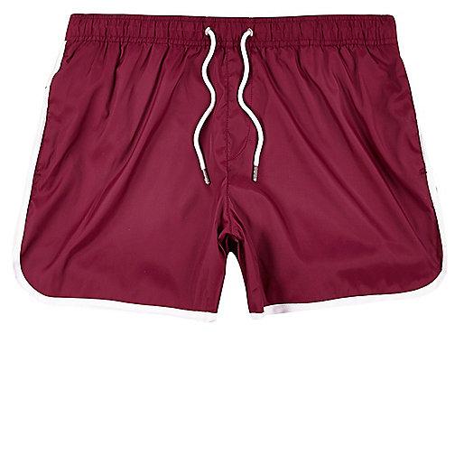 Red stripe runner swim trunks