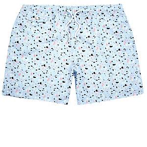 Light blue blobby print swim trunks