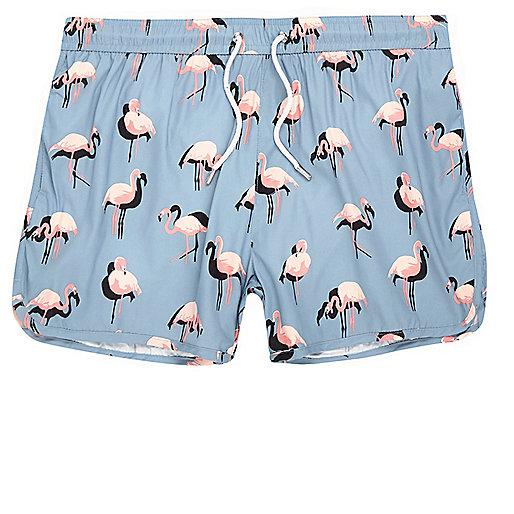 Blue flamingo print runner swim trunks