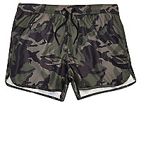 Green camo runner swim trunks