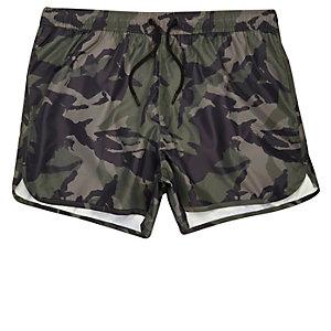 Green camo runner swim shorts
