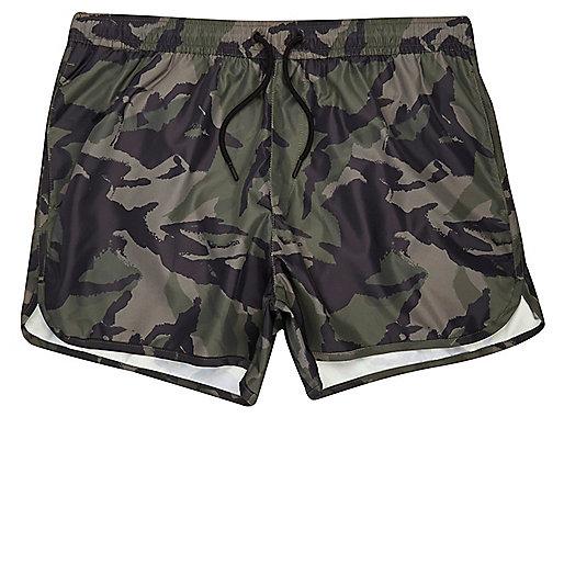 Green camo runner swim trunks