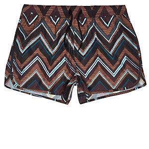 Black zig zag print runner swim trunks
