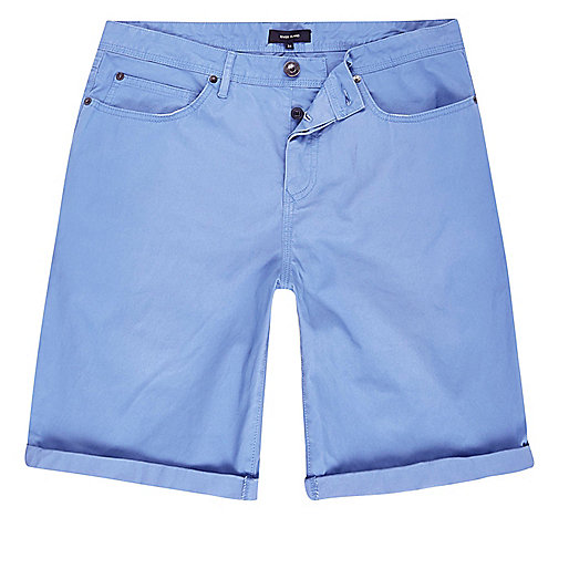 Light blue slim fit chino shorts