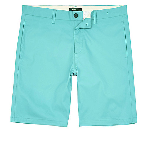 Short chino turquoise coupe slim