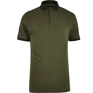 Khaki slim fit polo shirt