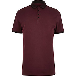 Dark red slim fit polo shirt