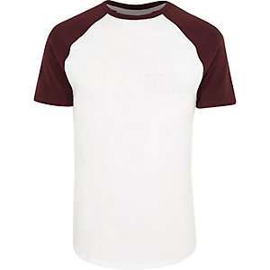 White muscle fit raglan T-shirt
