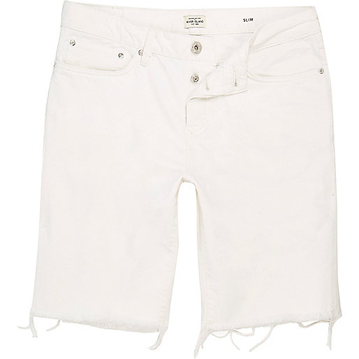 White slim fit frayed denim shorts
