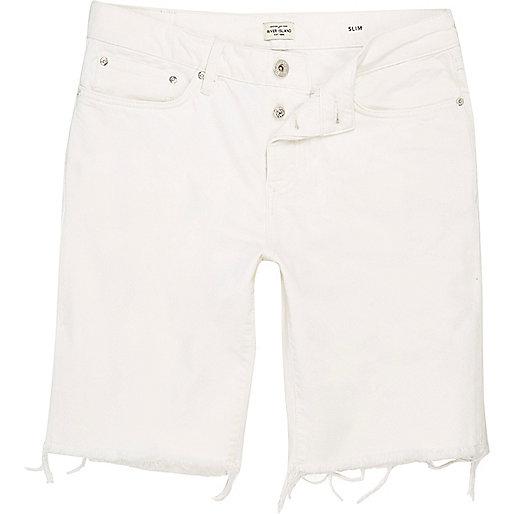 White slim fit frayed denim shorts