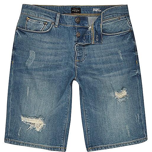 Short en jean slim bleu délavé effet usé