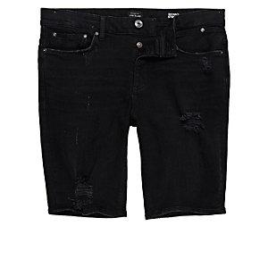 Black distressed skinny fit denim shorts