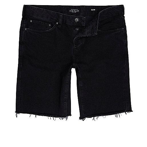 Black slim fit frayed denim shorts