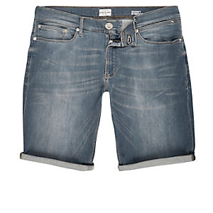 Smokey blue wash skinny fit denim shorts