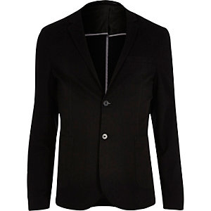 Black washed cotton skinny blazer
