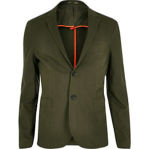 Khaki washed cotton skinny blazer