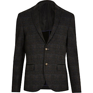 Blazer court cintré à carreaux anthracite
