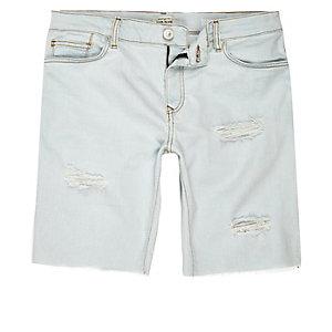 Bleach distressed denim shorts