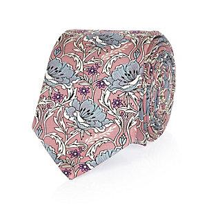 Pink William Morris print tie