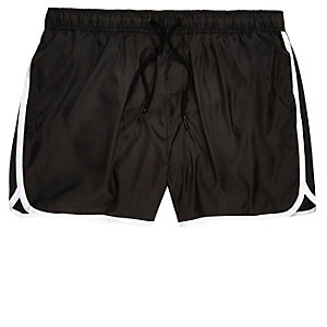 Black stripe runner swim trunks