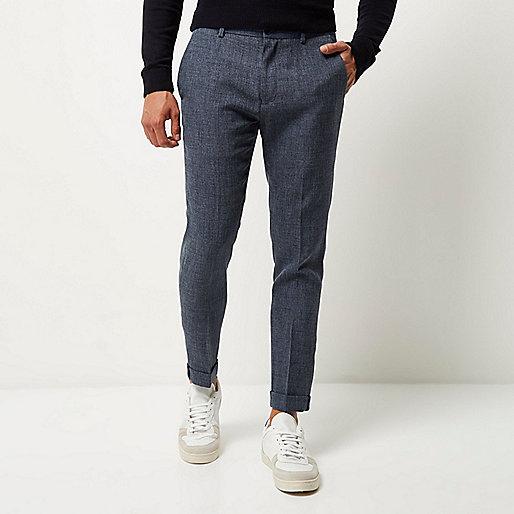 Blaue, strukturierte, kurz geschnittene Skinny-Hose