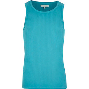 Blue ribbed tank