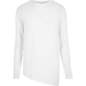 White asymmetric hem longline top