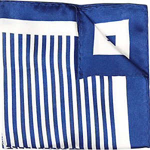 Blue multi design pocket square