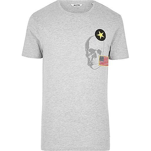 Grey Only & Sons skull badge T-shirt