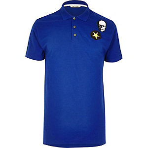 Blue Only & Sons badge polo shirt