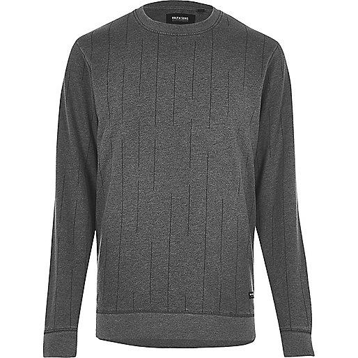 Black Only & Sons broken stripe sweatshirt
