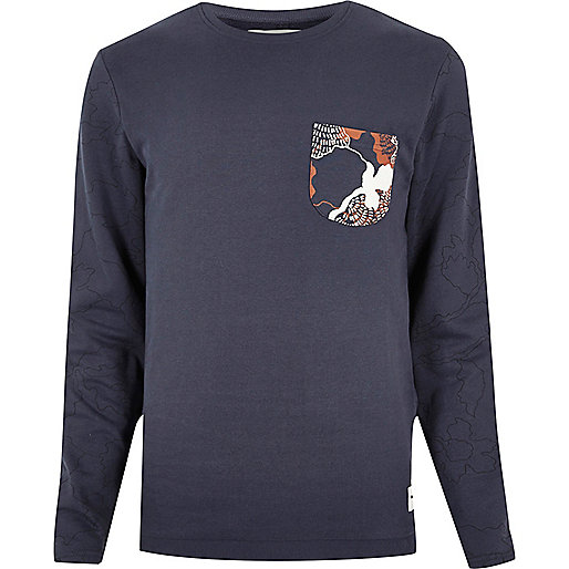 Blue Only & Sons print long sleeve T-shirt