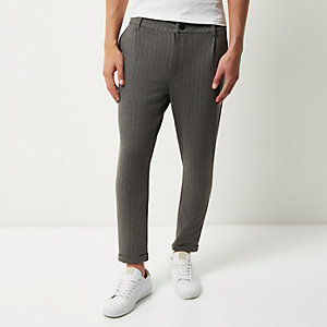 Grey Only & Sons pinstripe slim fit pants