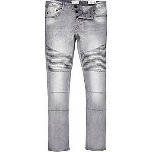 Light grey Only & Sons skinny biker jeans