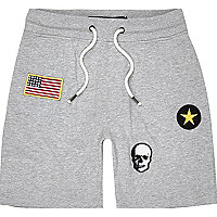 Light grey Only & Sons badge sweat shorts