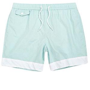 Light blue stripe panel swim shorts