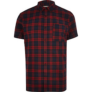 Red checked flannel short sleeve shirt